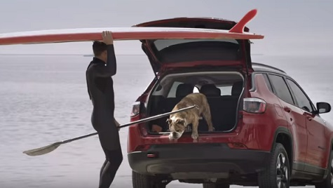 Jeep Compass Commercial - Guy Surfing with His Dog