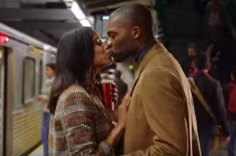Starbucks Christmas Commercial - Couple Kissing