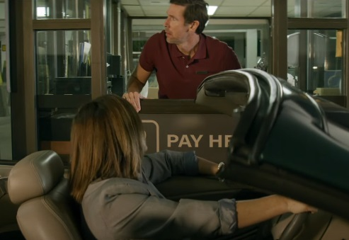 GEICO Motorcycle Parking Booth Monitor Commercial